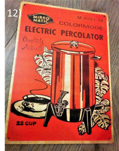MirroMatic Electric Percolator 22 Cup Ad Metal Plate Sign