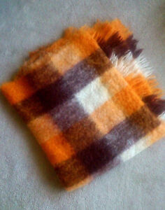 Like New Vintage Plaid Mohair Blanket or Mohair Throws