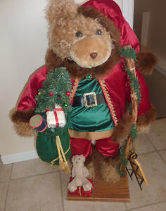 Tall Christmas teddy bear (decoration), excellent condition