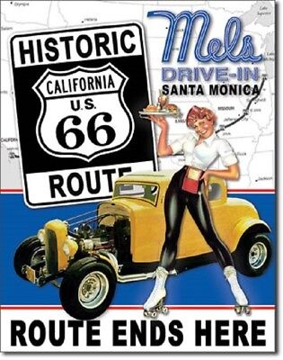 Mels Drive In Santa Monica California Route 66 TIN SIGN Wall Decor Metal Poster