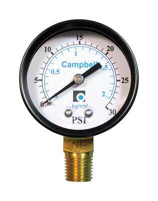 Campbell Pressure Gauge 0-30 Psi 14 2  0.25 Lead 0-30 Psi