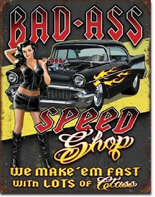 Muscle Car Signs - Bad Ass Speed Shop Muscle Car Garage Chevy Bel Air Decor Metal Tin Sign Gift