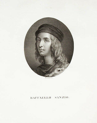 1812 Raffael Raphael Raffaello Sanzio Copper Engraving Portrait from Bisi