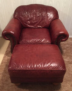 2 Red Leather Chairs with Ottoman