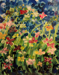 Afternoon Delight, original flower painting on canvas