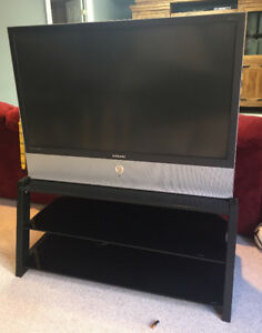 "Samsung 50"" DLP TV and modern glass stand"