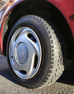Four bolt pattern rims with very good rubber; mounted & balanced