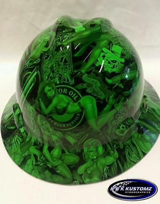 Neon Green Naughty Boy Msa V-gard Full Brim Hard Hat Wfastrac