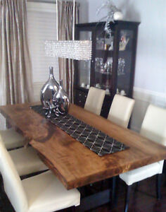 Reclaimed Wood Live Edge Slab Harvest Tables Dining