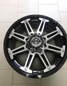 "4 NEW *** 17"" 8x6.5 BLACK/MACHINED WHEELS"