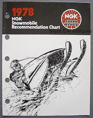 (Original 1978 NGK Spark Plug Snowmobile Engines Recommendation Chart Brochure)