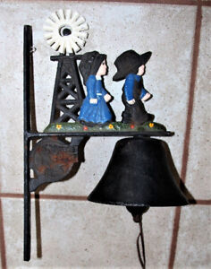 VINTAGE YANKEE FORGE CAST IRON BELL -DUTCH THEMED WINDMILL+