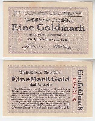 wertbeständiges Notgeld 1 Mark Gold Handelskammer Halle 15.11.1923 (110984)
