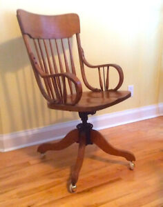 Antique swivel, rocking office chair