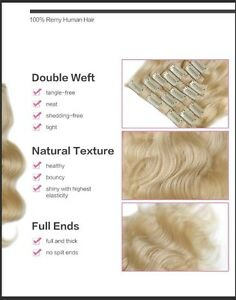 100% HUMAN HAIR/ Blonde body wave CLIP IN hair extensions, 7 pcs Yellowknife Northwest Territories image 6