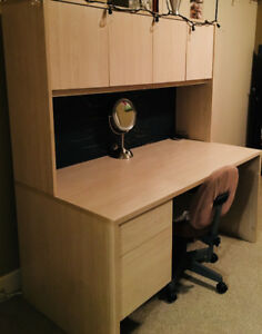 Desk with upper cabinets