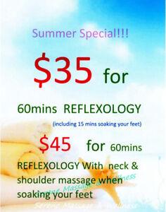 60mins Swedish Massage $58!60mins Foot Reflexology $35!