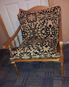 Vintage solid wooden lounge chair with cushion seating London Ontario image 1