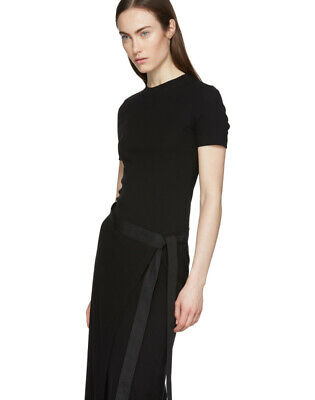 $520.00 Rosetta Getty Black Knit Apron Midi Dress Sz S