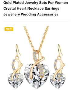 Gold Plated Crystal Heart Necklace Earings jewelry set