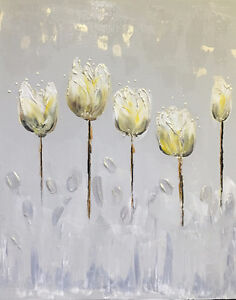 One-of-a-kind Contemporary Painting on Canvas 20x16 New - Tulips