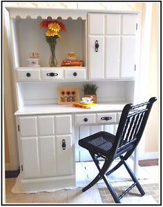 Hand Crafted, Refinished!Dovetail MAPLE White Desk &Hutch