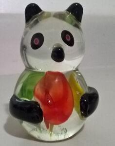 Vintage Murano Hand Blown Art Glass Panda Bear Paperweight
