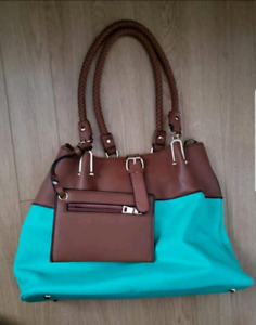 Turquoise and brown bag