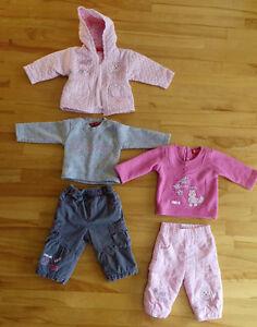 6 vêtements automne fille 6 mois manteau, pantalon, etc chaud