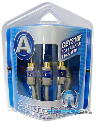 AUDIOBAHN CEY210F PRO Y RCA JACK WIRE 2F 1M CORD for SUB AMPLIFIER STEREO AMP Car Audio Pro 1 Amp