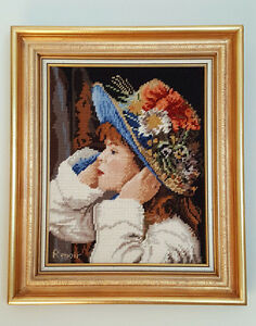 RENOIR Needlepoint Tapestry Picture - Girl in Hat & Wildflowers