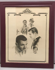 Large Framed Nostalgia Drawings of Clark Gable in Mint Condition