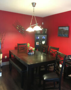 SOLD! (deep brown dining room table set (4 chairs+bench))