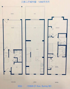 South Surrey Brand New 2 bedroom   1 Den townhouse for rent