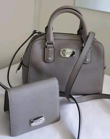(Jo's post) Michael Kors small grey SANDRINE DOME BAG & FREE PURSE