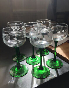 Irish green-stemmed etched wine glasses (set of 6) for sale