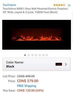 "The onyx by touchstone 50"" wallmounted fireplace"