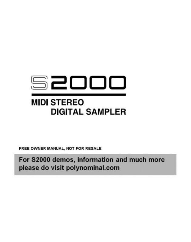Akai S2000 Digital Sampler Owners Instruction Manual