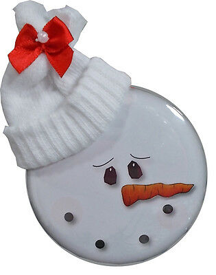 "12 CHRISTMAS 3"" BUTTONS MAGNET COUNTRY STYLE SNOWMAN FACE W/ STOCKING HAT RIBBON"