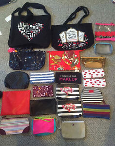 Various bags: makeup pouch, totes
