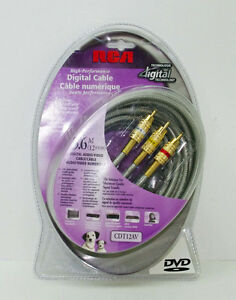 Digital Audio Video Cable 12 ft RCA Studio Grade Gold Plated