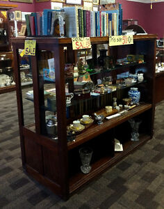 Mahogany Double Sided Display Cabinet