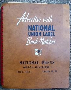 1950's NATIONAL UNION LABEL BOOK MATCHES Trade Catalog