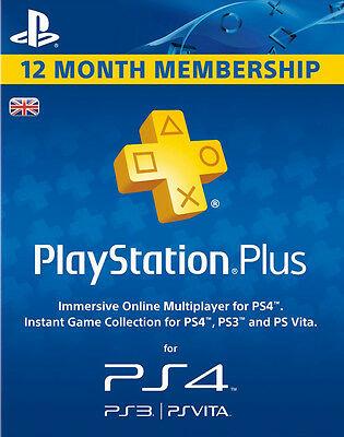 PLAYSTATION PLUS 12 MONTH MEMBERSHIP PS4 BRAND NEW SEALED UK PAL