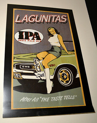 Lagunitas IPA beer poster retro style GTO muscle car with girl