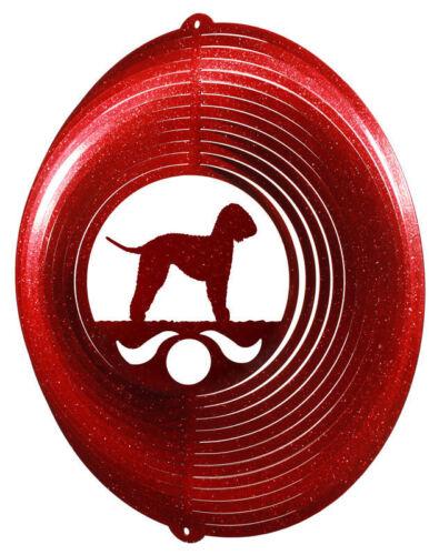 Bedlington Terrier Wind Spinner RED High Gloss Metal Art For Your Garden * NEW!
