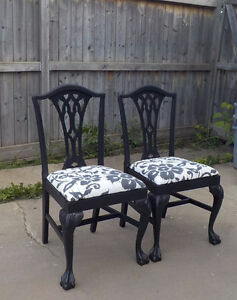 FRENCH PROVINCIAL CLAW FEET CHAIRS - CHARCOAL - $120 each
