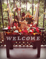 Fall themed welcome bench planters