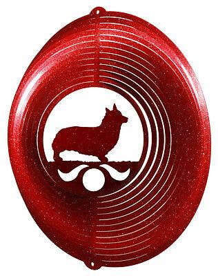 Welsh Pembroke Corgi Dog RED Metal Swirly Sphere Wind Spinner *NEW*