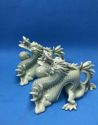 Pair Of Vintage Chinese Celadon Dragons Holding Ball Figures Statues Porcelain